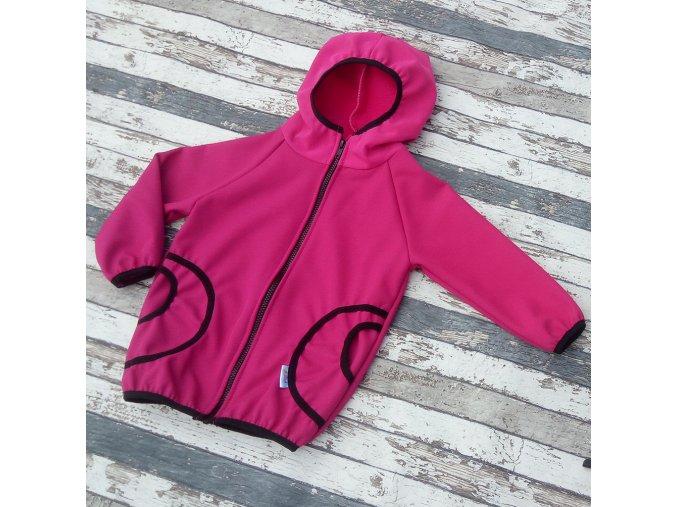 Softshellová bunda Yháček, zimní, růžová/černá