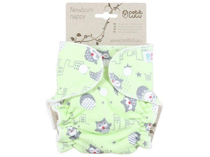 Kalhotková plenka na patentky Petit Lulu noční sova (zelená)