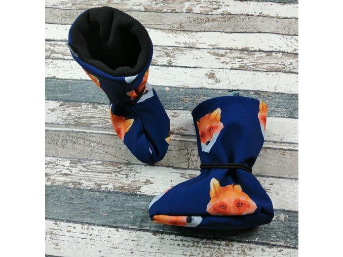 Nosicí botičky - válenky Yháček, černý flís, liška na navy
