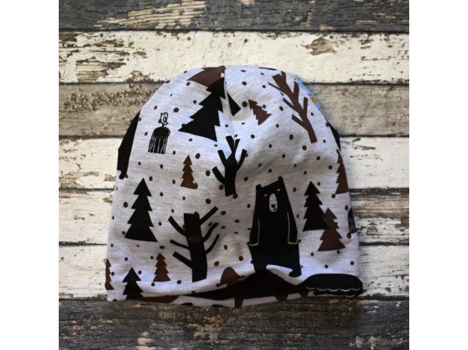 Šmoulí čepička Yháček, oboustranná, Medvěd v lese