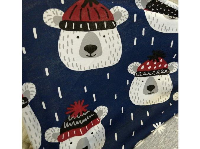 Bavlněný Úplet, medvěd v čepici