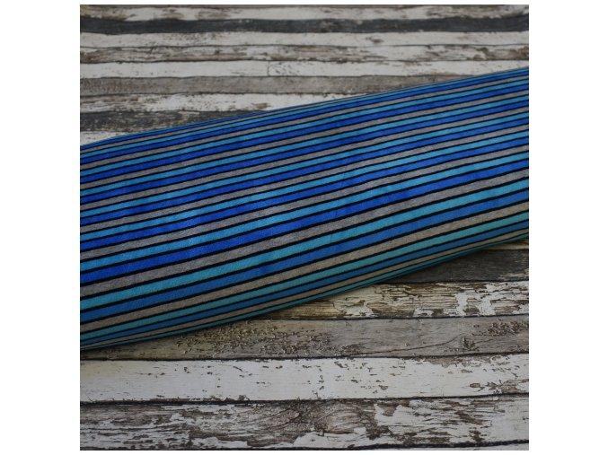 Kojenecký plyš, pruhy s modrou