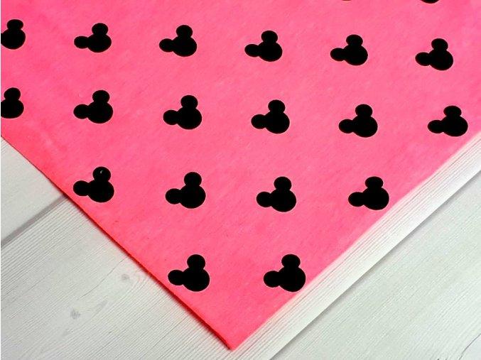 Mickeymouse hlavy na neonově růžové