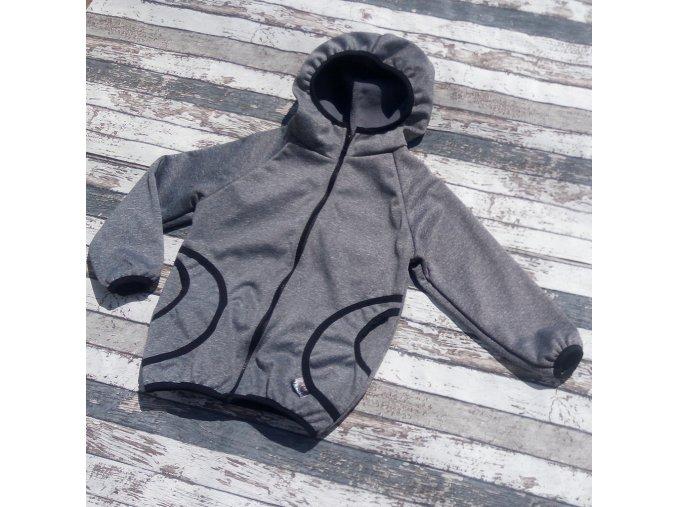 Softshellová bunda Yháček, zimní, tmavě šedý melír