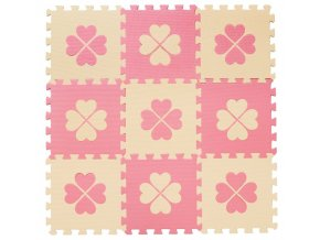 Pěnové BABY puzzle Čtyřlístky růžovobéžové, 9 ks