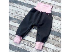 Softshellové kalhoty Yháček, zimní, šedá/světle růžová