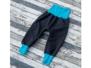 Softshellové kalhoty Yháček, zimní, šedá/tyrkys