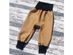 Softshellové kalhoty Yháček, zimní, žíhané, hořčicová