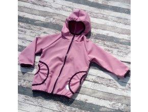 Softshellová bunda Yháček, zimní, žíhaná, růžová