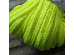 Šňůra plochá, neon žlutá, 8 mm