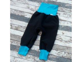 Softshellové kalhoty Yháček, zimní, černá/tyrkys