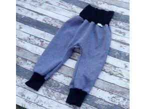 Softshellové kalhoty Yháček, zimní, tmavě modrý melír/černá