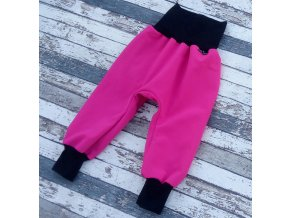 Softshellové kalhoty Yháček, zimní, růžová/černá