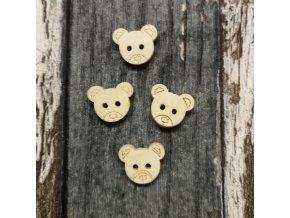 Knoflík medvídek , dřevěný