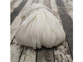 Šňůra plochá, bílá 12 mm