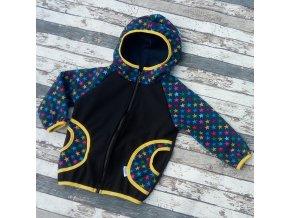 Softshellová bunda Yháček, zimní, černá/hvězdičky/hořčicová