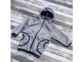 Softshellová bunda Yháček, zimní, světle šedý melír
