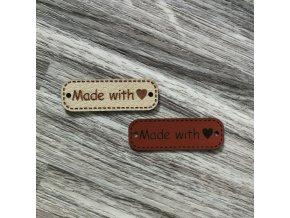 Štítek Made with love, malý, ekokůže