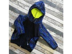 Softshellová bunda Yháček, zimní, modré lístky