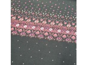 Viskóza úplet, panel, květinový vzor
