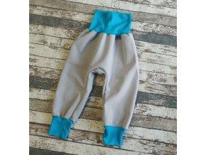 Softshellové kalhoty Yháček, zimní, světle šedá/tyrkys