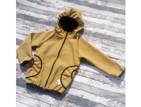 Softshellová bunda Yháček, zimní, žíhaná, tmavá hořčicová