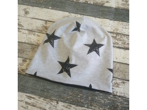 Šmoulí čepička Yháček, oboustranná, hvězdy na šedé