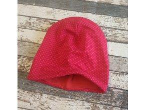Šmoulí čepička Yháček, oboustranná, puntíky drobné na červené