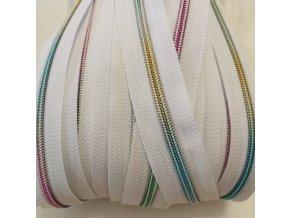 duhový zip spirálový 5 mm bílý