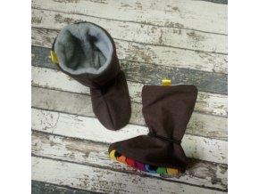 Nosicí botičky - válenky Yháček, flís, hnědé žíhané/žraloci