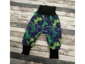 Zimní softshellové kalhotky Yháček, dino na modré