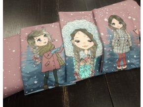 Panel - teplákovina, dívka v kapuci, starorůžová