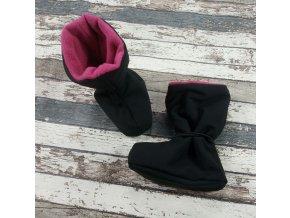 Nosicí botičky - válenky Yháček, flís, černé/růžové
