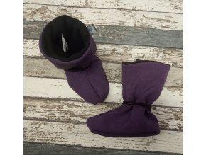 Nosicí botičky - válenky Yháček, flís, fialový melír
