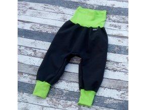 Softshellové kalhoty Yháček, letní, černá/zelená