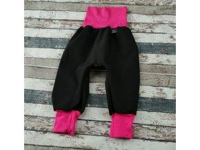 Softshellové kalhoty Yháček, letní, černá/růžová