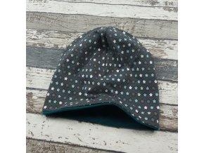Šmoulí čepička Yháček, oboustranná, drobné hvězdičky/meadow