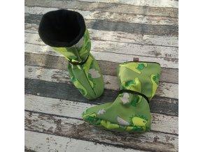 Nosicí botičky - válenky Yháček, flís, zelený dinosaurus