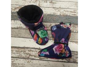 Nosicí botičky - válenky Yháček, černý flís, balóny a růže na fialové
