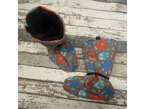 Nosicí botičky - válenky Yháček, černý flís, mořský svět