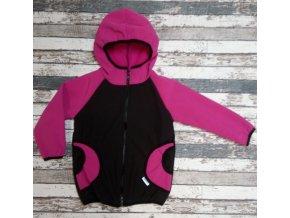 Softshellová bunda Yháček, zimní, černo-růžová