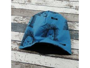 Šmoulí čepička Yháček, oboustranná, ježci na modré