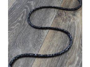 Šňůra černá se stříbrnou nití, 0,7 cm