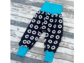 Zimní softshellové kalhotky Yháček, hvězdy na černé/tyrkys