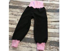 Softshellové kalhoty Yháček, zimní, černá/světle růžová