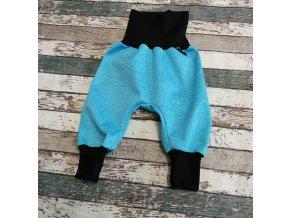 Softshellové kalhoty Yháček, letní, modrý melír/černá