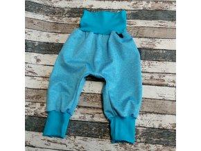 Softshellové kalhoty Yháček, letní, modrý melír/tyrkysový