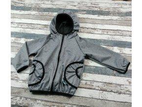 Softshellová bunda Yháček, letní, šedý melír/černé lemy