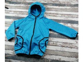 Softshellová bunda Yháček, letní, modrý melír/černé lemy