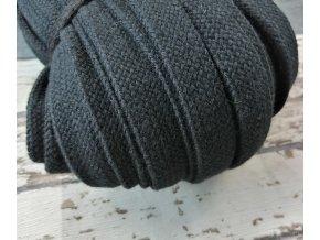 Šňůra plochá bavlněná, černá 18 mm